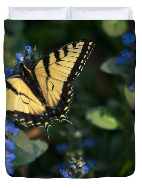 Ajuga With Tiger Butterfly Duvet Cover