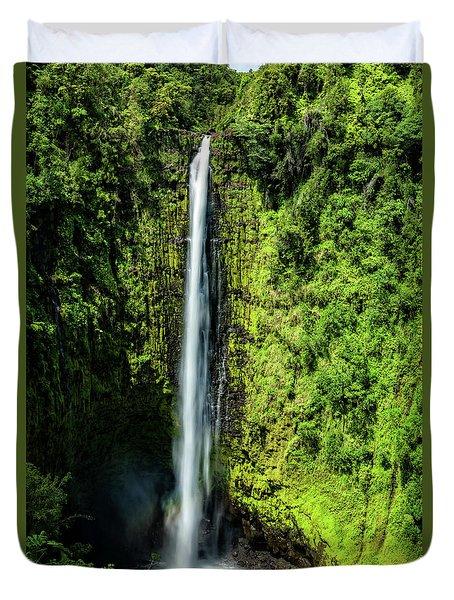 Akaka Falls With Rainbow Duvet Cover