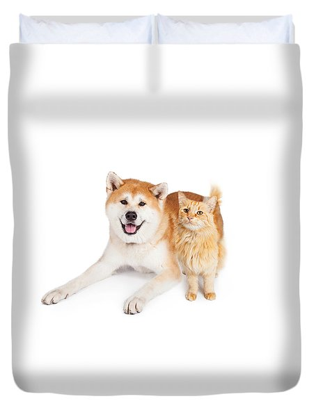 Akita Dog And Tabby Cat Over White Background Duvet Cover