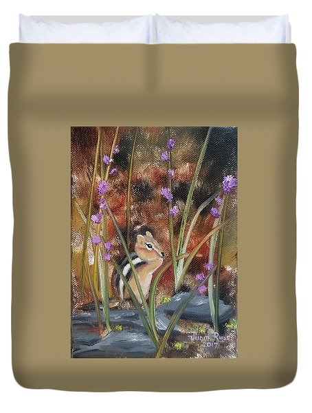 Duvet Cover featuring the painting Al Fresco Dining With A View by Judith Rhue