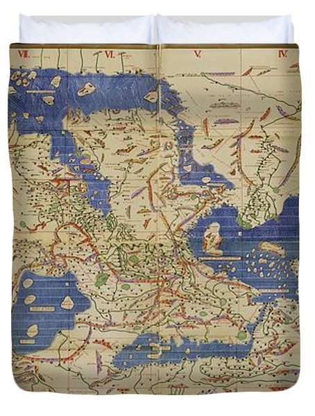 Al Idrisi World Map 1154 Duvet Cover by SPL and Photo Researchers
