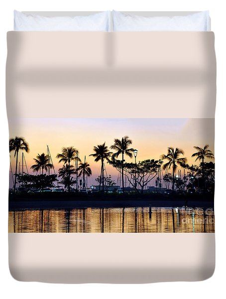 Duvet Cover featuring the photograph Ala Wai Harbor by Gina Savage