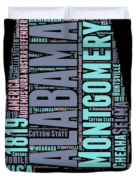 Alabama Word Cloud 1 Duvet Cover
