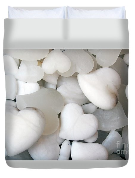 Alabaster Hearts Duvet Cover