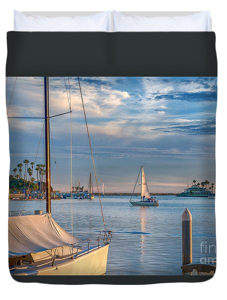 Alamitos Bay Inlet Sailboat Duvet Cover by David Zanzinger
