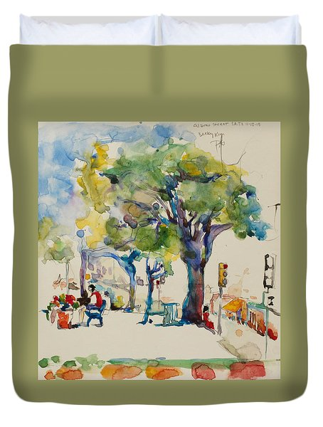 Alamo Plaza Duvet Cover by Becky Kim