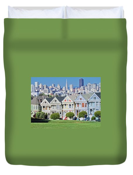 Duvet Cover featuring the photograph Alamo Square by Matthew Bamberg