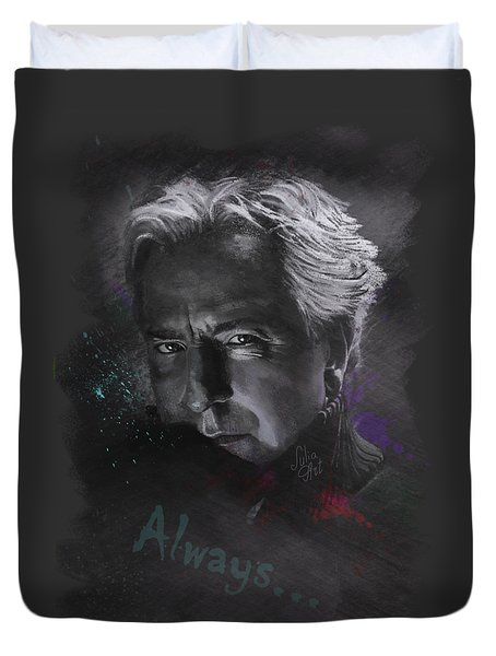 Duvet Cover featuring the drawing Alan Rickman by Julia Art
