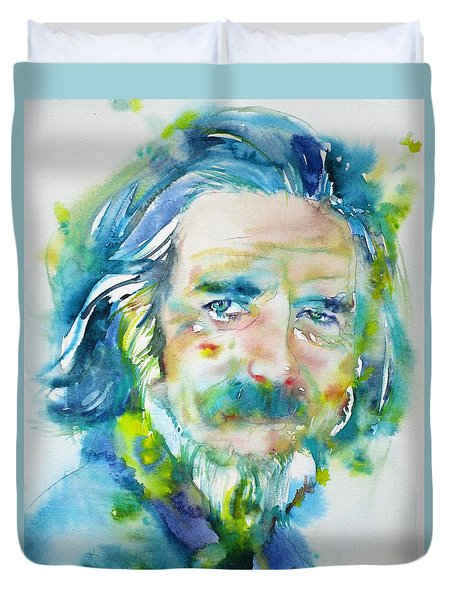 Duvet Cover featuring the painting Alan Watts - Watercolor Portrait.4 by Fabrizio Cassetta
