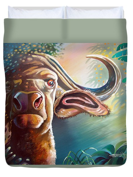 Duvet Cover featuring the painting Alarmed by Anthony Mwangi
