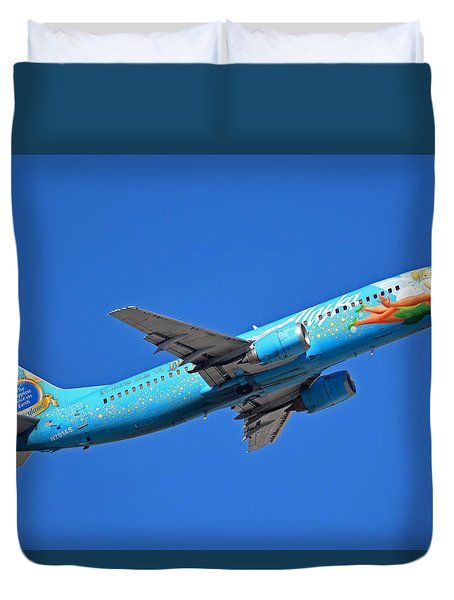 Alaska Boeing 737-490 N791as Tinker Bell Phoenix Sky Harbor January 12 2016 Duvet Cover by Brian Lockett