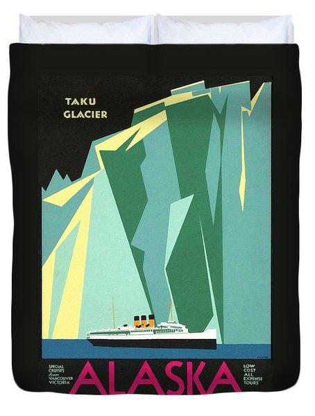 Alaska Canadian Pacific - Vintage Poster Restored Duvet Cover