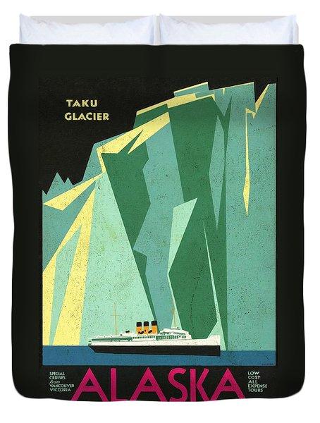 Alaska Canadian Pacific - Vintage Poster Vintagelized Duvet Cover