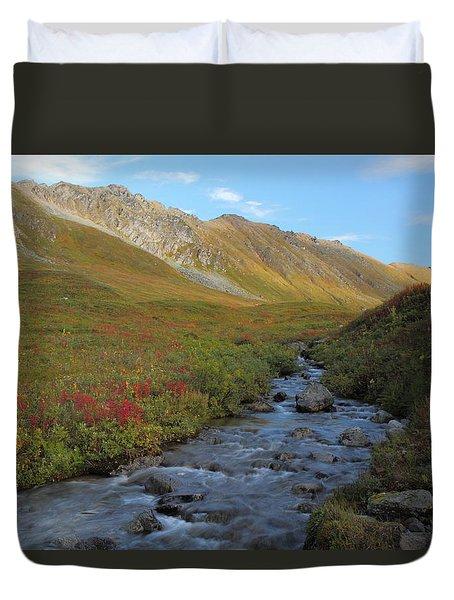 Alaska Fireweed And Willow Creek Along Hatcher Pass Road Duvet Cover