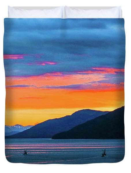 Alaska Fishermans Sunset Duvet Cover