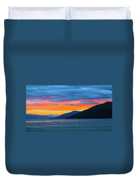 Alaska Fishermans Sunset Duvet Cover