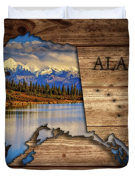 Alaska Map Collage Duvet Cover