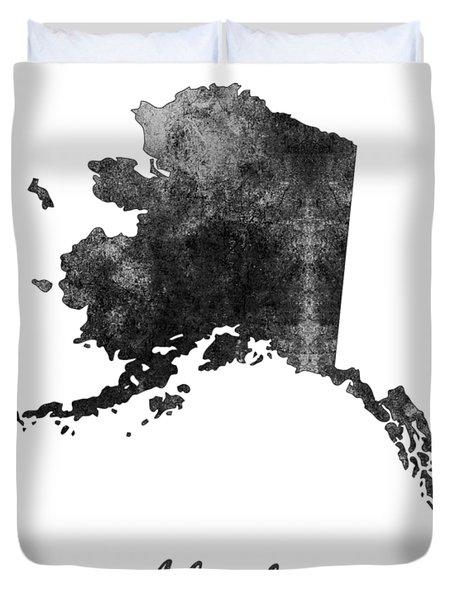 Alaska State Map Art - Grunge Silhouette Duvet Cover