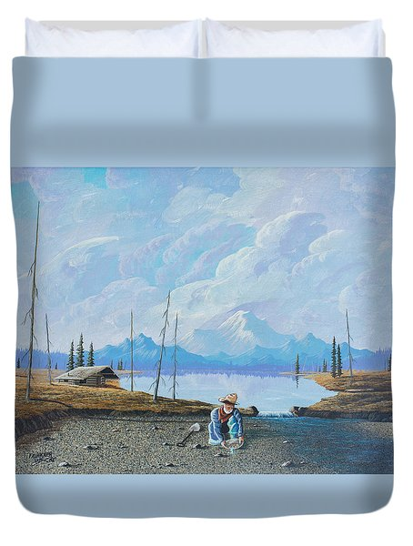 Duvet Cover featuring the painting Alaskan Atm by Richard Faulkner
