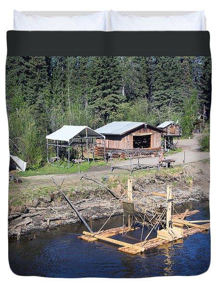 Alaskan Fishing Camp Duvet Cover by Allan Levin