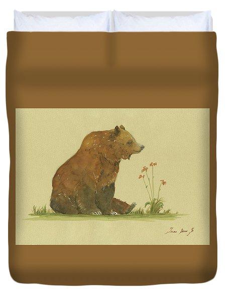 Alaskan Grizzly Bear Duvet Cover by Juan Bosco