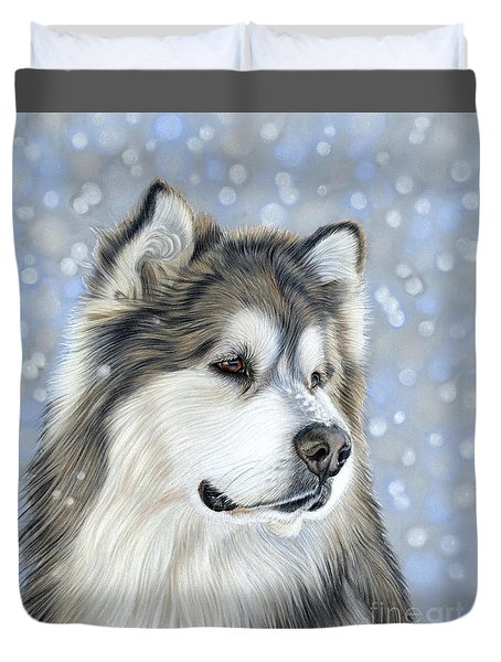 Duvet Cover featuring the mixed media Alaskan Malamute by Donna Mulley