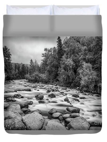 Alaskan Stream In Black And White Duvet Cover