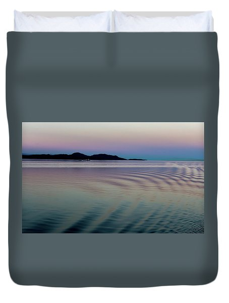 Alaskan Sunset At Sea Duvet Cover