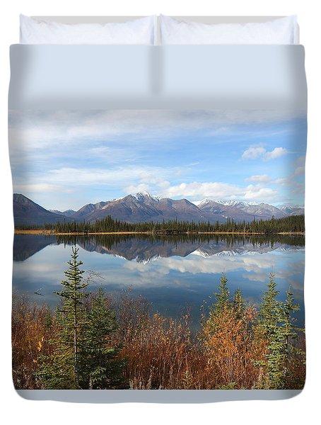 Reflections At Alaska's Mentasta Lake Duvet Cover