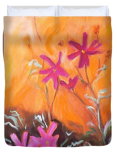 Duvet Cover featuring the painting Alba Daisies by Winsome Gunning