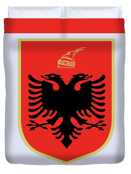 Duvet Cover featuring the drawing Albania Coat Of Arms by Movie Poster Prints