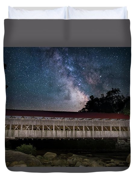 Albany Covered Bridge Under The Milky Way Duvet Cover