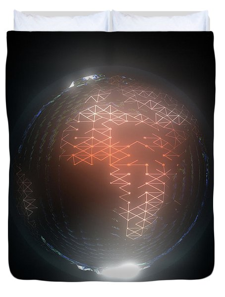 Albedo - Africa And Europe By Night Duvet Cover