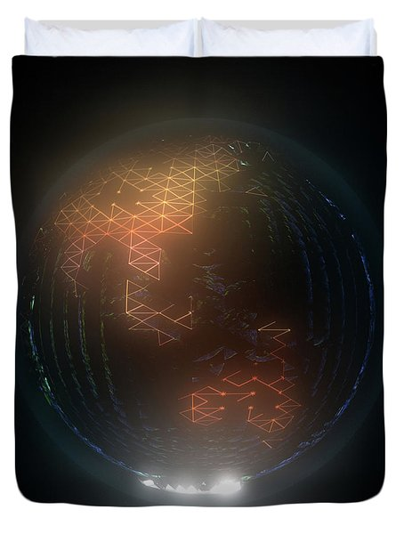 Albedo - Asia And Australasia By Night Duvet Cover