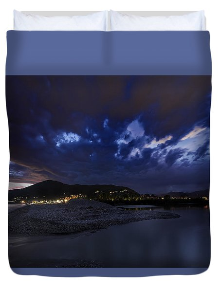 Duvet Cover featuring the photograph Albenga Alassio Coast Sunset With Clouds... by Enrico Pelos