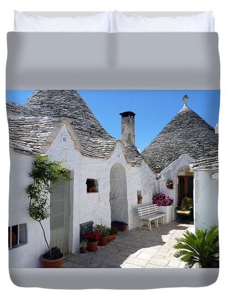 Alberobello Courtyard With Trulli Duvet Cover