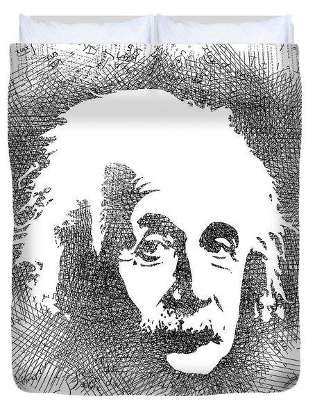 Albert Einstein Bw  Duvet Cover by Mihaela Pater