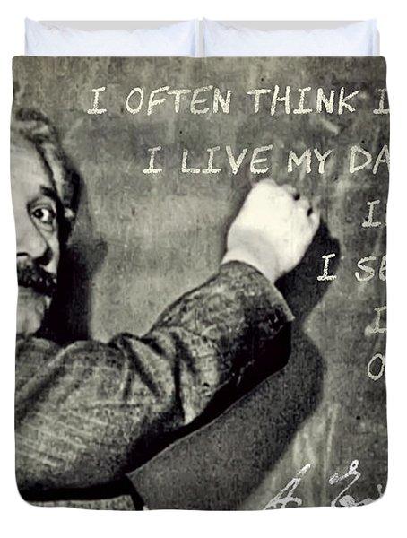 Albert Einstein, Physicist Who Loved Music Duvet Cover