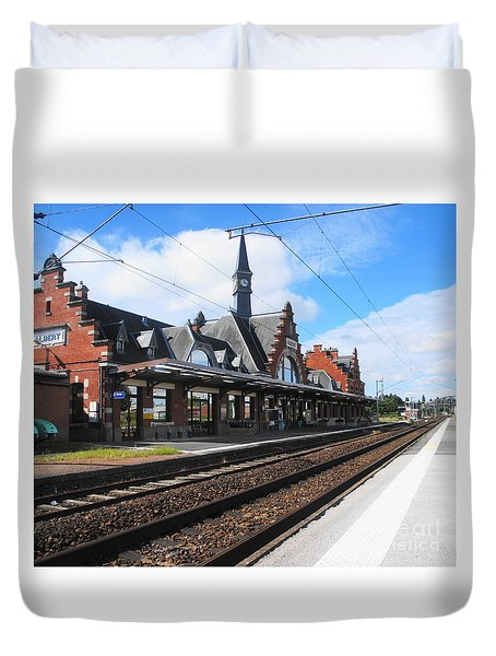 Duvet Cover featuring the photograph Albert Train Station, France by Therese Alcorn