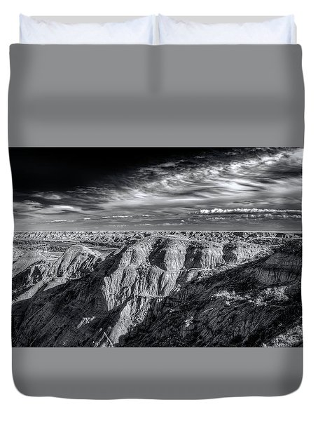 Duvet Cover featuring the photograph Alberta Badlands by Wayne Sherriff