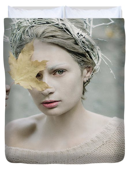 Albino In Forest. Prickle Tenderness Duvet Cover