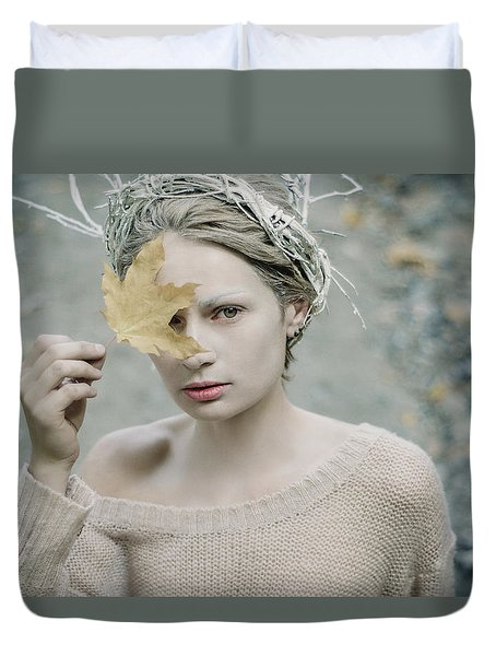 Albino In Forest. Prickle Tenderness Duvet Cover