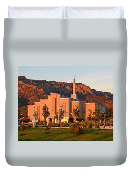 Duvet Cover featuring the photograph Albuquerque Lds Temple At Sunset 1 by Marie Leslie