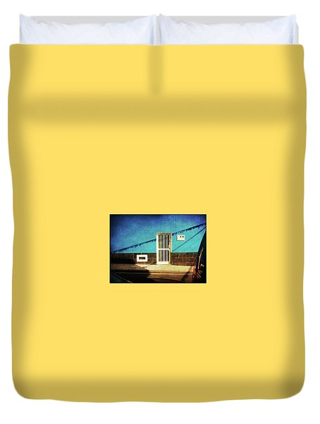 Duvet Cover featuring the photograph Alcala Blue Wall White Door by Anne Kotan