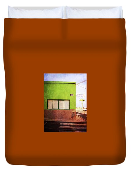 Duvet Cover featuring the photograph Alcala Green Corner by Anne Kotan