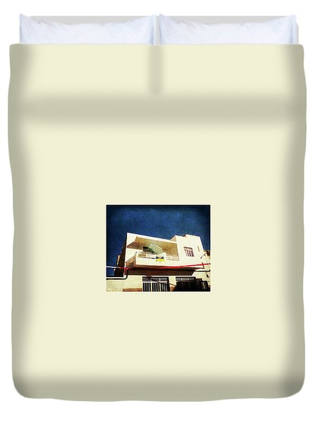 Duvet Cover featuring the photograph Alcala Green Parasol by Anne Kotan
