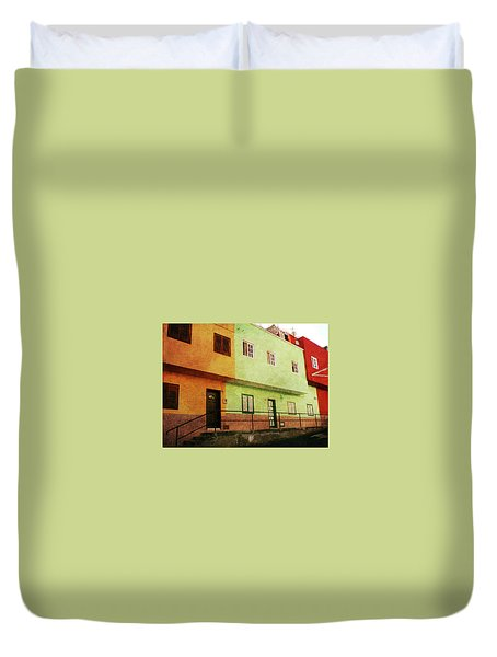 Duvet Cover featuring the photograph Alcala Orange Green Red Houses by Anne Kotan