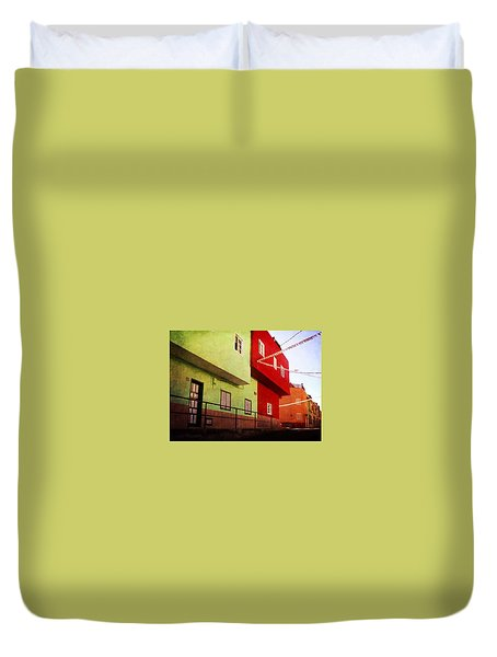 Duvet Cover featuring the photograph Alcala Red And Green Street by Anne Kotan
