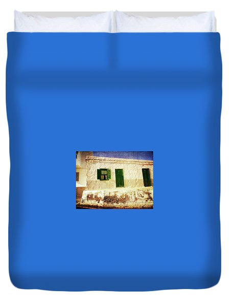 Duvet Cover featuring the photograph Alcala White And Green House by Anne Kotan