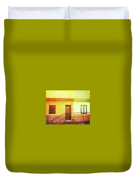 Duvet Cover featuring the photograph Alcala Yellow Green Houses by Anne Kotan